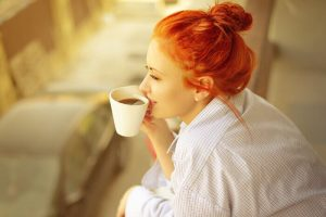 girl with taking coffee